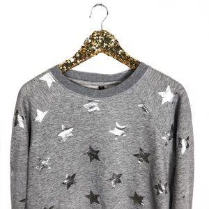 Betsey Johnson Crewneck Metallic Star Sweatshirt